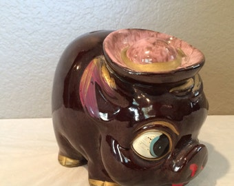 Vintage Collectible Drip Glazed Pottery Pig Round Piggy Bank -Excellent Condition