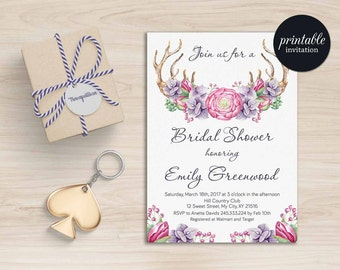 Floral Bridal Shower Invitation Boho, Purple Bridal Shower Invitation Printable, Antlers Rustic Bridal Shower Invitation Spring Summer