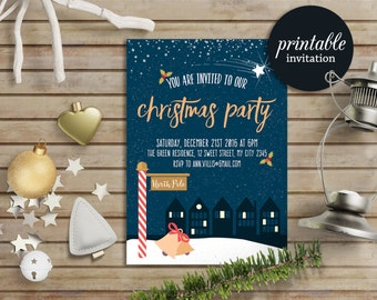 Christmas Party Invitation, Printable Christmas Invitation, Holiday Party Invitation, Winter Holiday Invite, Printable Holiday Invitation