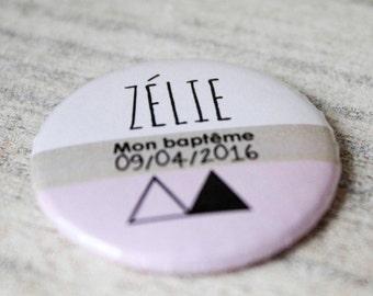 Custom badge (PIN or magnet), baptism, wedding or anniversary, invited gift