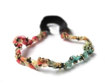 Girl Rainbow Headband, Baby Headband, Dressy Headband, Petite Headband, Baby Girl Newborn Headband, Mini Headband, Ribbon Gold Beads Halo