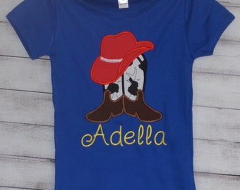 Personalized Cowgirl Boots & Hat Applique Shirt or Onesie Girl
