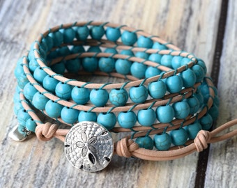 Turquoise Wrap Bracelet, Wrap Bracelet, Sand Dollar Bracelet, Boho Bracelet, Leather Wrap Bracelet, Beaded Leather Wrap