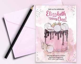 Invitation template - Printable Birthday Invitation - 1st Birthday Invitations Girl - Personalized Invitation - Print your own Invitations