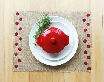 Burlap Placemats with Hand-Printed Polka Dot Detail in Red.  Set of 4 or 6 Placemats.