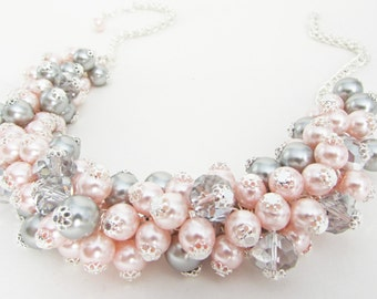 Blush Pink and Silver Grey Pearl and Crystal Cluster Necklace, Pink Chunky Necklace, Grey Bridesmaid Necklace, Pink and Grey Bead Jewelry,