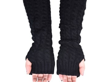 Fingerless Gloves, Long Arm Warmers, Cable Knit Long Gloves (Black)