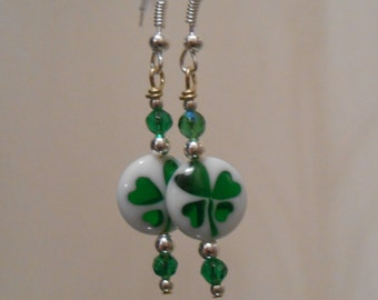 Translucent Shamrock Earrings Item No. 169 Perfect for St. Patrick's Day Four Leaf Clover Earrings