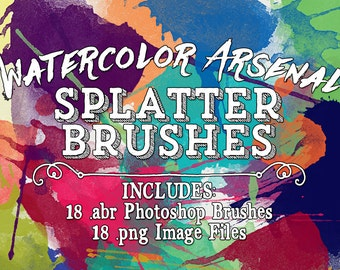 Watercolor Photoshop Brushes - Splatter Watercolor Brushes - Watercolor Arsenal Splatter Clip art  - Digital Stamps - abr brushes