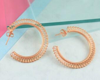 Rose Gold Earrings, 925 Hoop Earrings, Statement Earrings, Boho Earrings, Rose Gold Hoops, Filigree Earrings, Large Hoop Earrings, Gold Hoop