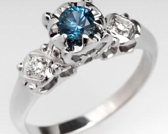 Montana Sapphire & Diamond Accents 14K White Gold Vintage Engagement Ring WM10318