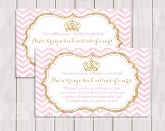 Pink And Gold Princess Book Request, Pink Gold Crown Book Instead Of Card,  Book