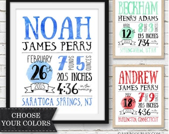Boy Birth Stats Print, Newborn Birth Stats Wall Art Printable, Personalized Birth Statistics, Print, Gift, Typography, Watercolor
