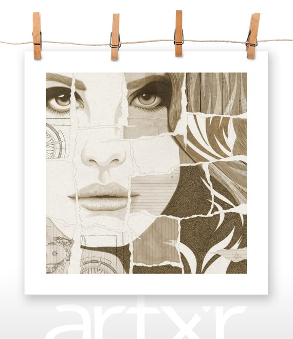 TORN SERIES - VOLUME 05 - Lana Del Rey - Print of a Hand Drawn Illustration with Digital Color and Paper Textures Added