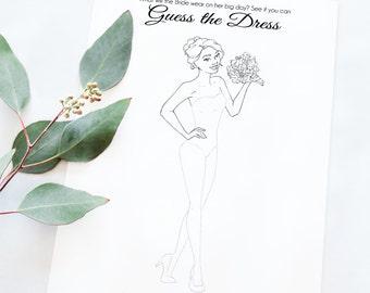 Bridal Shower Game - Unique Bridal Shower Game - Wedding Shower Game - Guess the Dress Printable Game - Instant Download