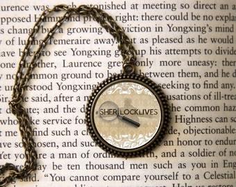 """SHERLOCK  """"SHERLOCKLIVES""""  Pendant Necklace, Sherlock Holmes,Fan Jewelry, Great Gift"""
