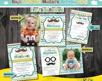 Little Man Birthday Party invitation,Mustache Birthday Party,mustache First Birthday,1st Birthday invitation,Mustache party,Little man party