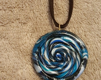 Handmade Polymer Clay Spiral Necklace