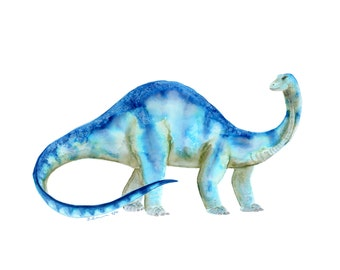 Brontosaurus Print - Dinosaur Nursery Art - Dinosaur Watercolor - Kids Dinosaur Art - Boy Room Wall Decor - Dino Wall Art - Dinosaur Decor