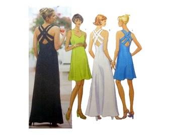 Dress Sewing Pattern, Sweetheart Neckline, Crisscross Straps, Open Back, Evening Gown, Misses Size 6, 8, 10 Uncut Butterick Classics 5542