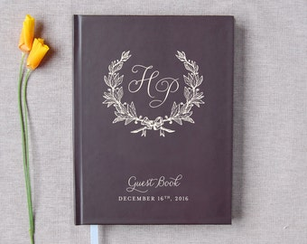 Wedding Guest Book #53 - Custom Hardcover Guest Book - Wedding Guestbook, Personalized Guest Book - Eggplant - Cream