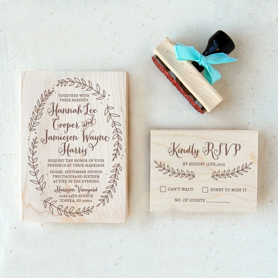 Wedding Invitation Stamp Suite 3 Wreath Calligraphy