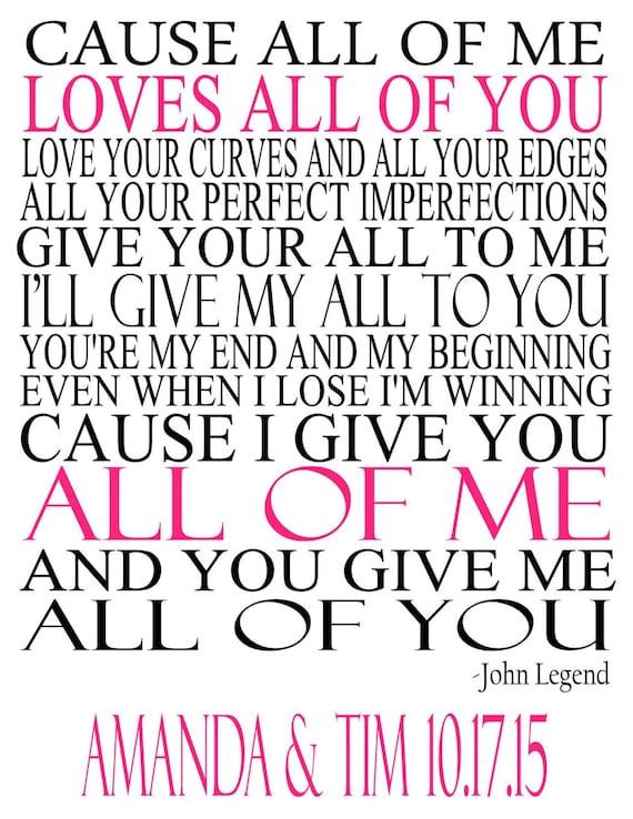 John Legend All of Me Lyrics Wedding Song by ...