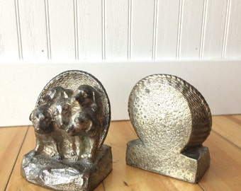 Bookends - Puppies - Plated cast copper