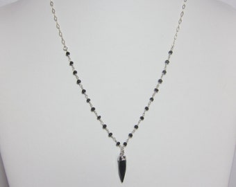 Black Spinel rosary/Onyx bullet necklace