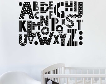 ABC - Wall Stickers - Alphabet - Decals - Home decor - Education - Children - Nutmeg Wall Art - Alphabet Sticker-Kid's Room-Study Decor