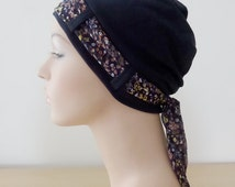 Stylish Cancer Hat - Navy Turban with Fine Floral pattern scarf, chemo headwear for woman experiencing hair loss. Alopecia. Cancer hats.