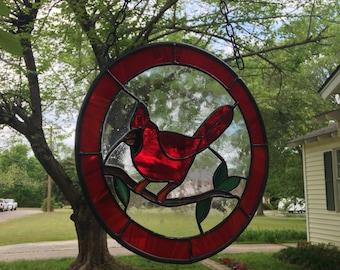 "Cardinal Red Bird Stained Glass Window Suncatcher 11"" Round"