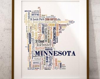 Minnesota Map Color Typography Map Art,Minnesota Cities & Towns Map Poster,Minnesota Poster Print,Text Art Print,Word Map