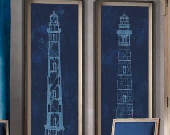 Cape Henry Lighthouse Blueprints:  Rustic Vintage Cape Henry Lighthouse Blueprints print poster 1878