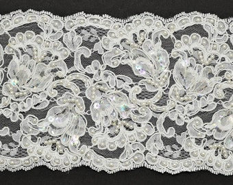 Beaded Sequin Flower Embroidery Ribbon Lace Trim, Bridal Lace, 4-1/2 Inch by 1 Yard, ROI-44307