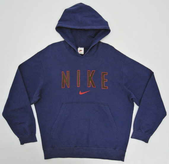 Nike Hoodie Mens Medium Vintage Nike Sweatshirt Nike Navy Blue