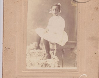 Antique Cabinet Photo - Mounted photo Sweet African American Girl with Bows in her hair