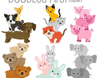 Stack Up Animals Digital Clip Art for Scrapbooking Card Making Cupcake Toppers Paper Crafts
