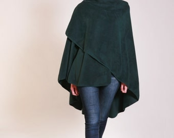 Fleece Shawl, Green Shawl, Wraps Shawls, Long Shawl, Cape Shawl, Poncho Wrap, Shawls And Wraps, Womens Shawls