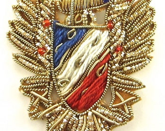 Bullion Crest Appliqué with Gold, Red, Blue White Thread and Beads -0159-1261