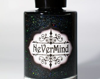 Black Holographic Glitter Nail Polish / Onyx Holo Glitter Nail Lacquer / Full Size 15ml Bottle / Halloween / Melanite