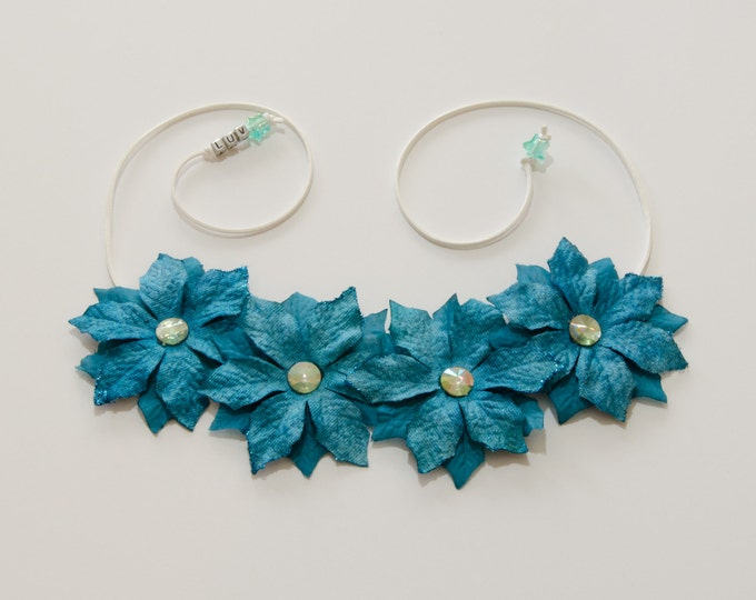 Teal Poinsettia Flower Crown