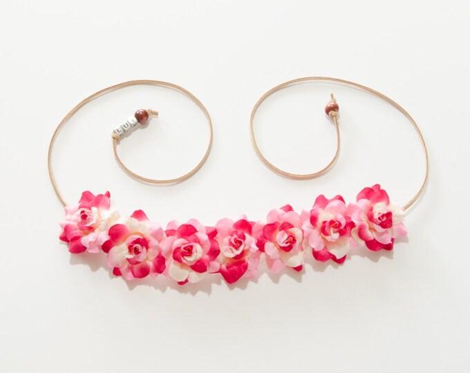 Pink White Rose Flower Crown