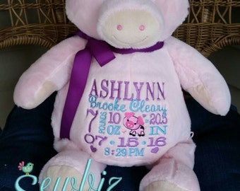 Personalized Baby Gift, Stuffed Animal, Pig Stuffed Animal, Monogrammed Stuffed Animal,Birth Announcement Stuffed Animal