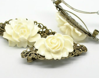 Elegant White Rose Hair Barrette Clip Metal Filigree Backing