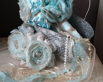 Bridal bouquet Ocean Blue Handmade