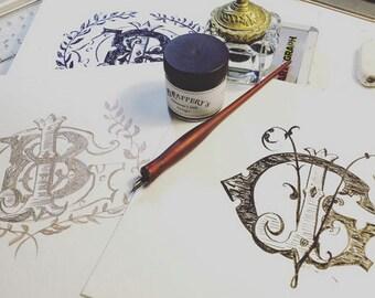Hand-Lettered Custom Monogram Design- Made to Order- Calligraphy- Wedding Logo- Family Monogram- 2,3,4 letter designs available-Printable