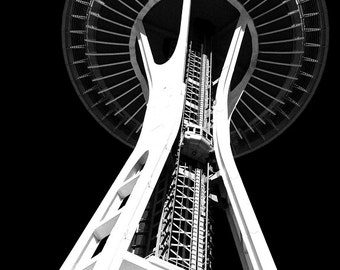 Seattle Space Needle, Black And White Art, Photography, Urban Art, City Art, Abstract Art