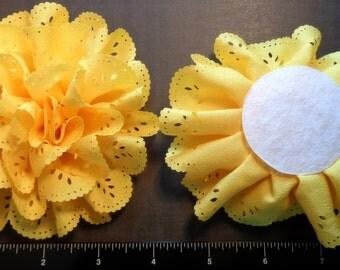 "1 Each 3.5"" Sunny Yellow Eyelet Fabric Flower - Hair Bow Embellishment"