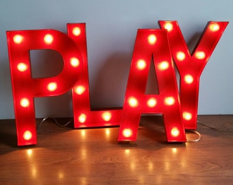"Red Marquee Light Up Letters Marquee Sign - 12"" or 16"" sizes available!"